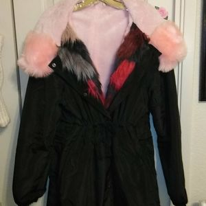 Black and pink fur lined coat.  XL